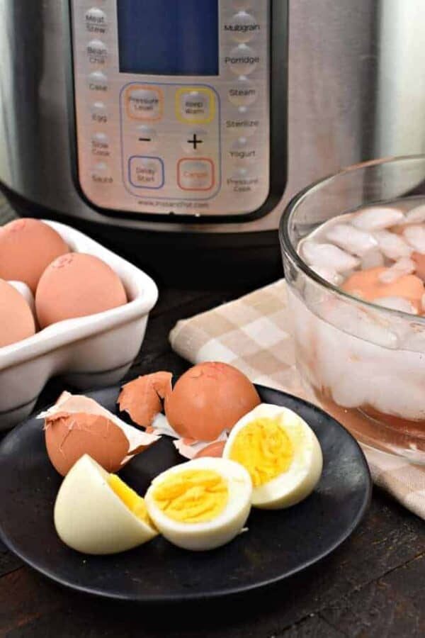 Hard Boiled Eggs, Instant Pot, Pressure Cooker, Eggs, 555 method, peeled eggs, how to cook eggs
