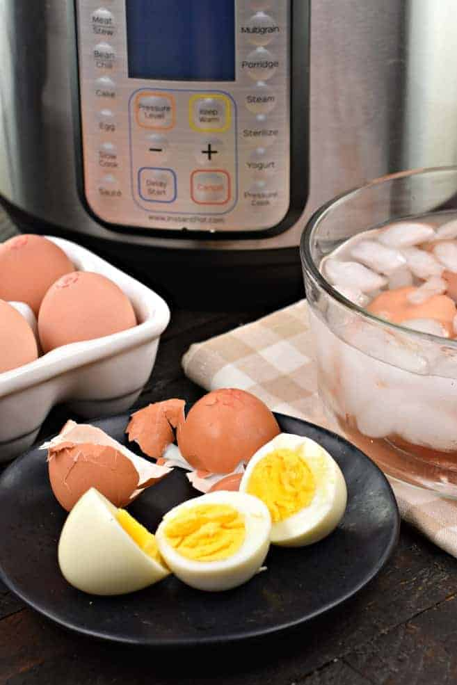 The simple 5-5-5 method for making perfect Instant Pot Hard Boiled Eggs. You'll be amazed at how easily they peel, and how creamy and delicious they taste!