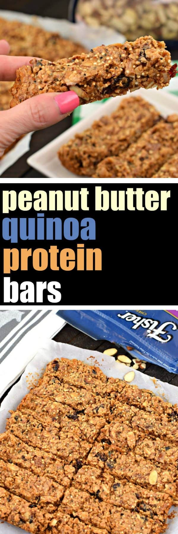 Peanut Butter, Protein, Quinoa, Bars, Almonds, Protein Bars, Post Workout, Recovery Snack, Snack, Healthy, Fisher Nuts,