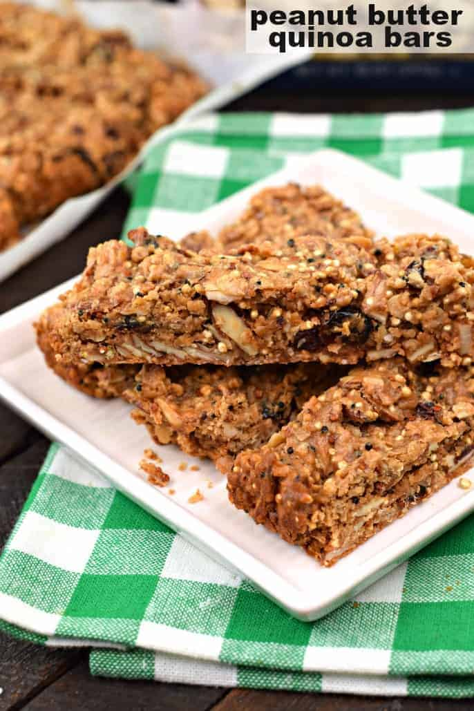 Chewy and nutty, these protein packed Peanut Butter Quinoa Protein Bars are the perfect post workout snack or breakfast on the go! Packed with flavor, and heart healthy almonds, you'll feel great choosing this as a snack or meal!