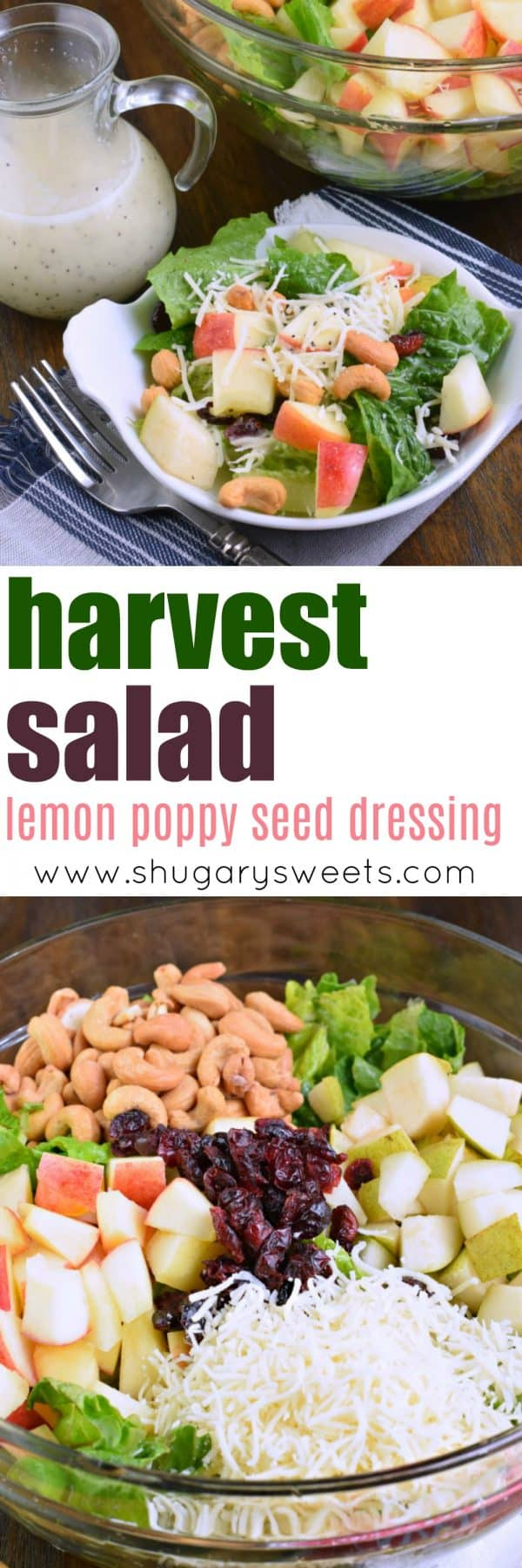Harvest salad with lemon poppy seed dressing and crunch pak apples