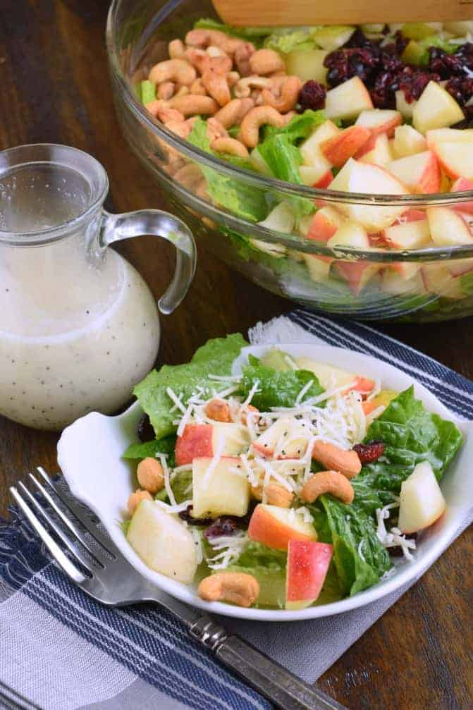 Cozy up to this Harvest Salad recipe with it's delicious Lemon Poppy Seed dressing. You'll love the flavors of apples, pears, cashews, and swiss cheese in this hearty salad recipe!