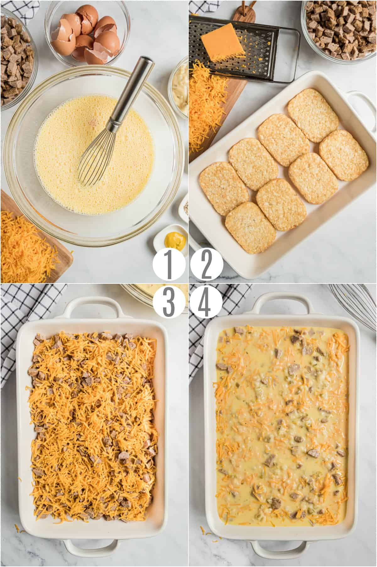 Step by step photos showing how to make overnight egg casserole.