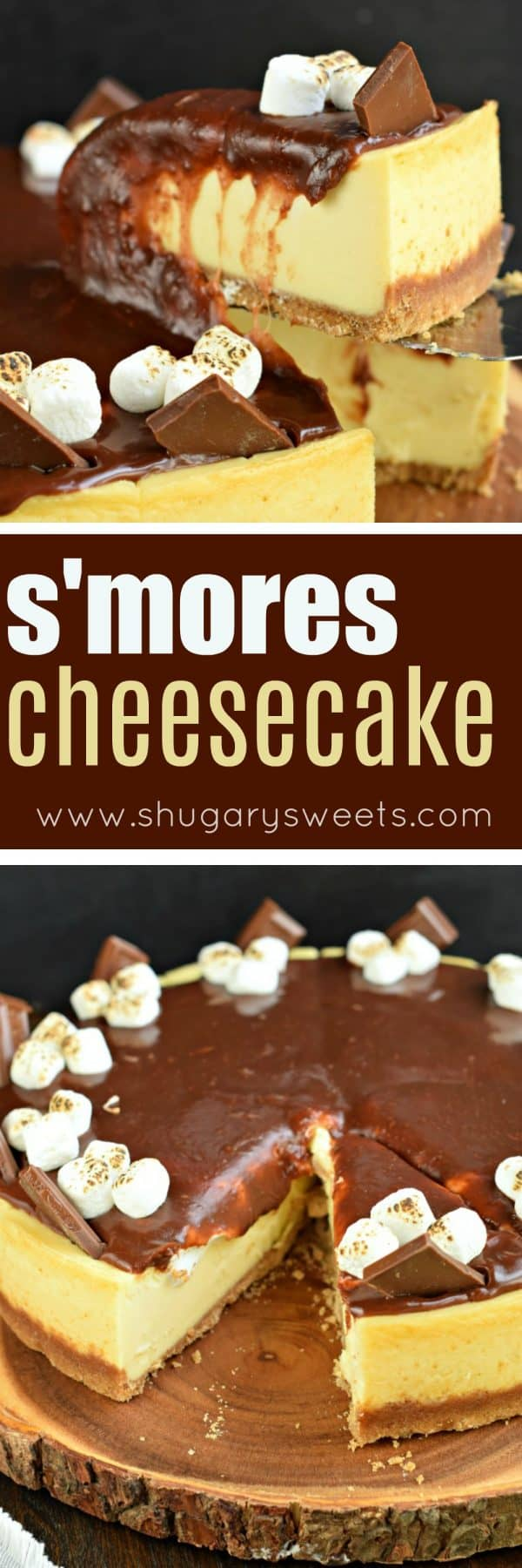 Mouthwatering and perfect, this S'mores Cheesecake recipe is made with marshmallow cream and homemade chocolate ganache. Make the cheesecake ahead of time and top it when you're ready to enjoy! #cheesecake #smores