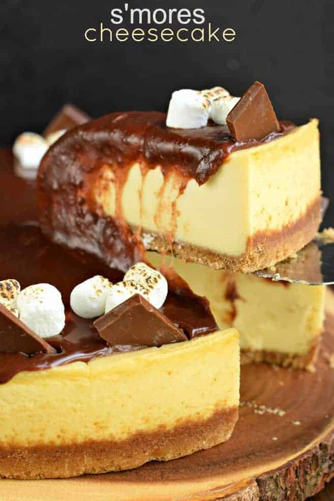Mouthwatering and perfect, this S'mores Cheesecake recipe is made with marshmallow cream and homemade chocolate ganache. Make the cheesecake ahead of time and top it when you're ready to enjoy!