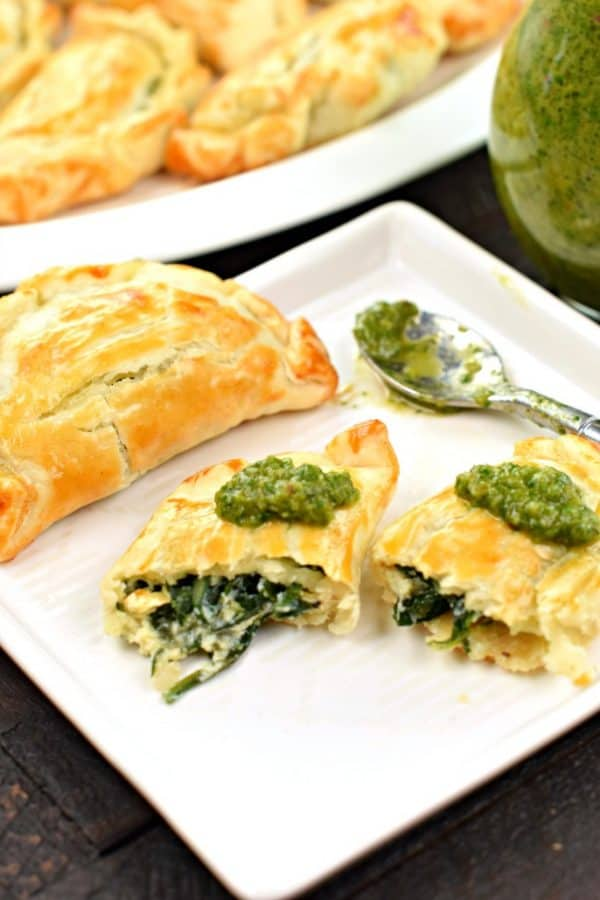 Spinach and Cheese Empanadas with Chimichurri