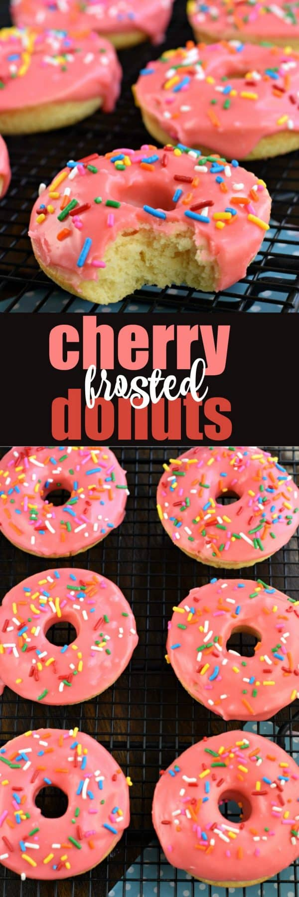 These Cherry Frosted Donuts have a tender, moist cake-like texture with a dreamy cherry frosting! Perfect for holidays, Valentine's Day, or general breakfast enjoyment. #doughnuts #donut #cherry #breakfast