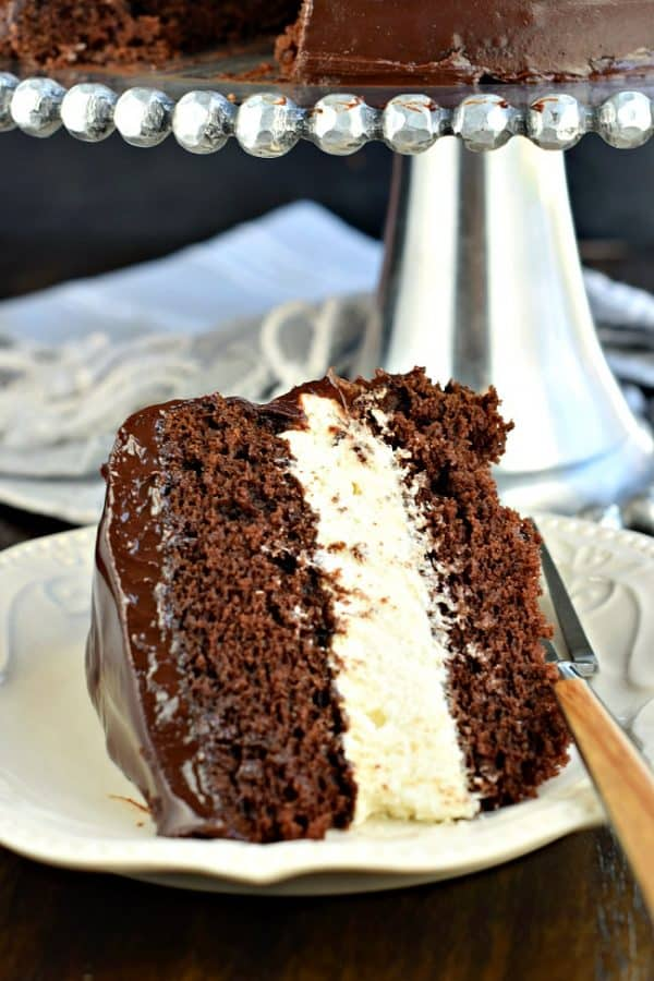 This Copycat Hostess Ding Dong Cake recipe is a rich, decadent chocolate cake, with a creamy filling and chocolate ganache spread over the top!