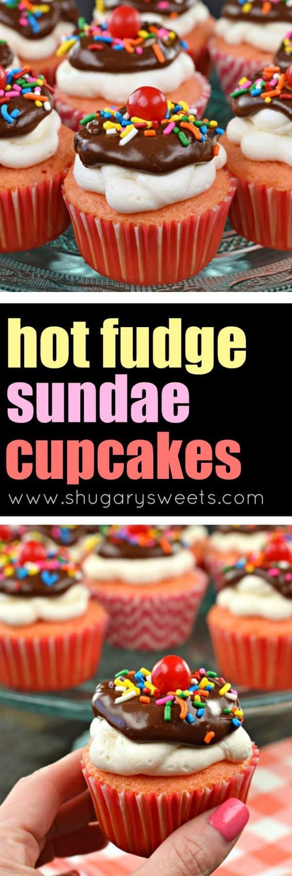 Hot Fudge Sundae Cupcakes with ganache