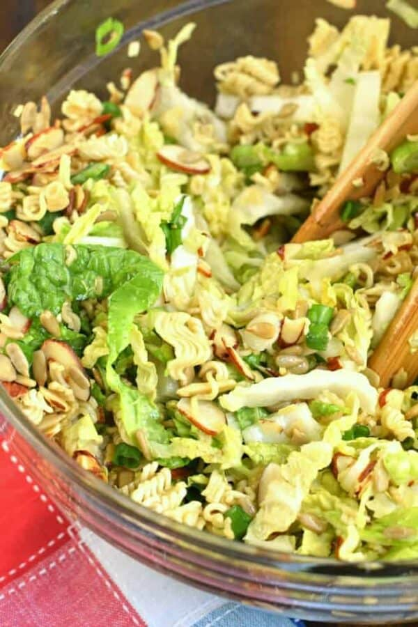 Looking for the perfect potluck recipe? This Chinese Coleslaw with ramen noodles is crunchy and sweet and irresistible.