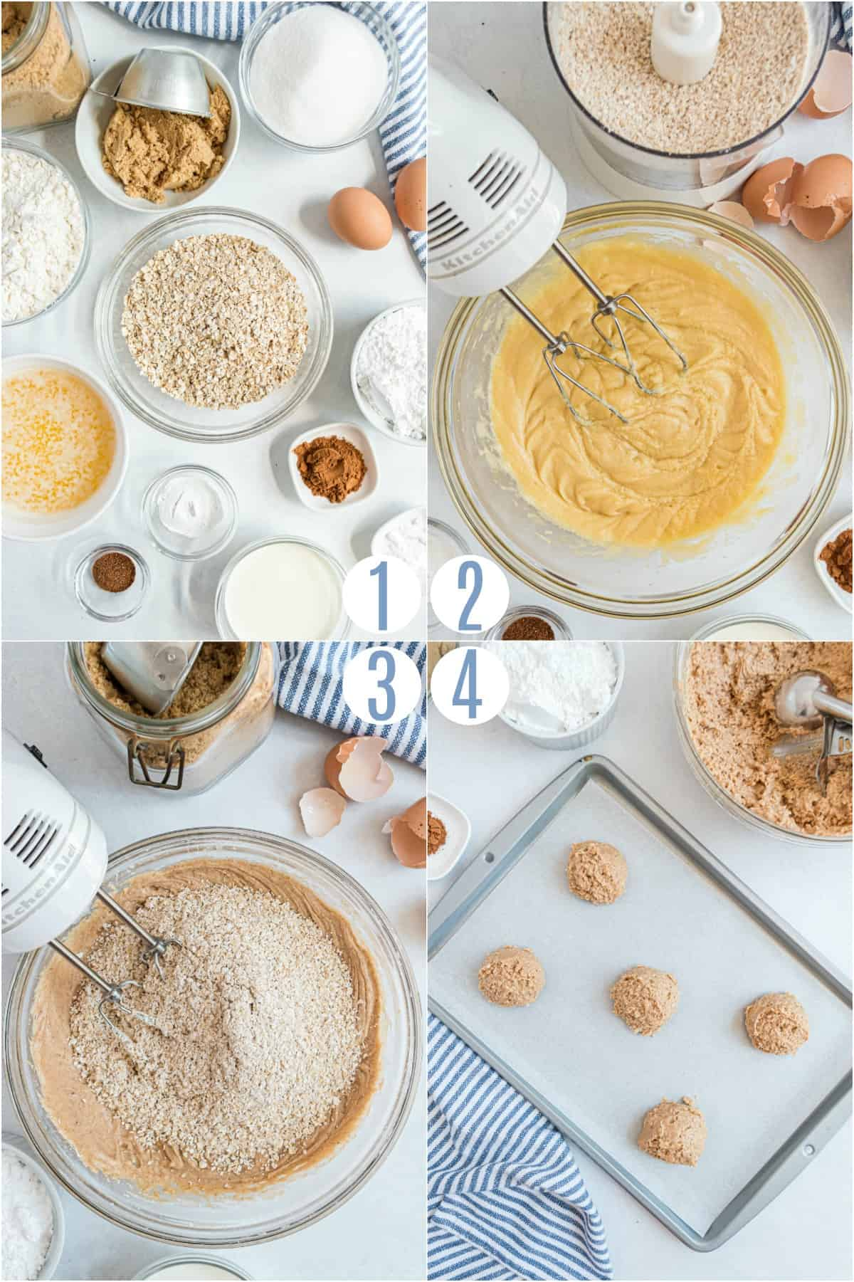 Step by step photos showing how to make iced oatmeal cookies from scratch.