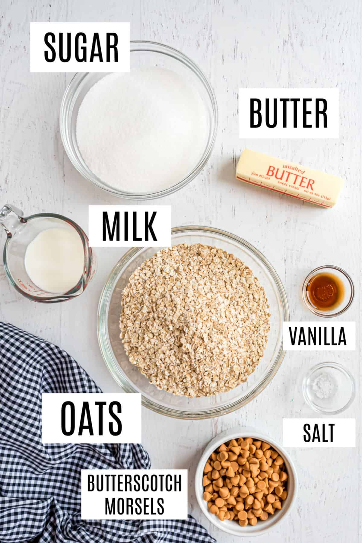 Ingredients needed to make no bake oatmeal butterscotch cookies.