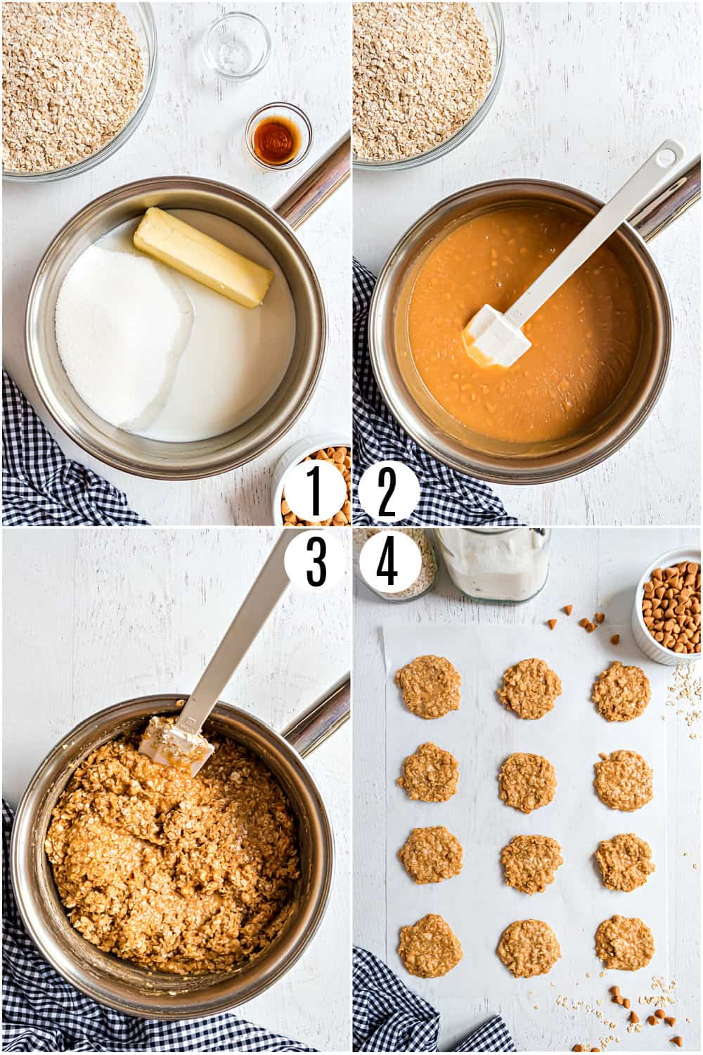 Step by step photos showing how to make no bake oatmeal scotchies.