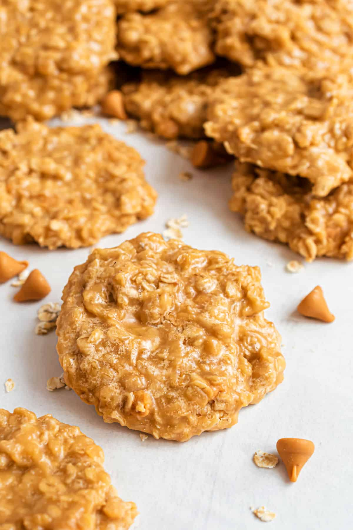 No bake oatmeal butterscotch cookies on parchment paper.