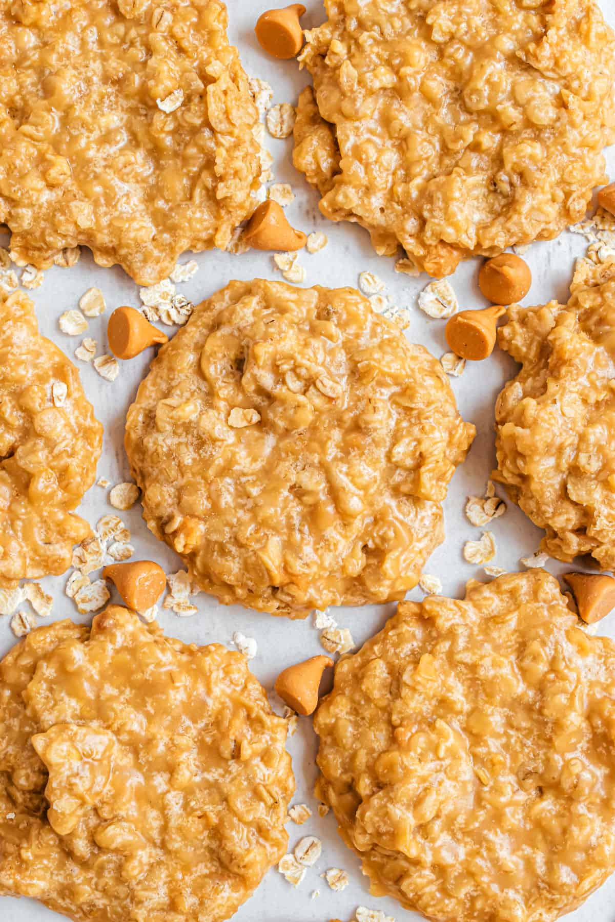 Oatmeal butterscotch cookies on parchment paper.