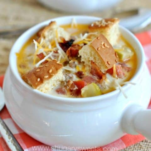 Looking for a dinner idea that's a little different but still delicious? Bacon Cheeseburger Soup is made in 30 minutes, and will be devoured with enthusiasm by kids and adults!