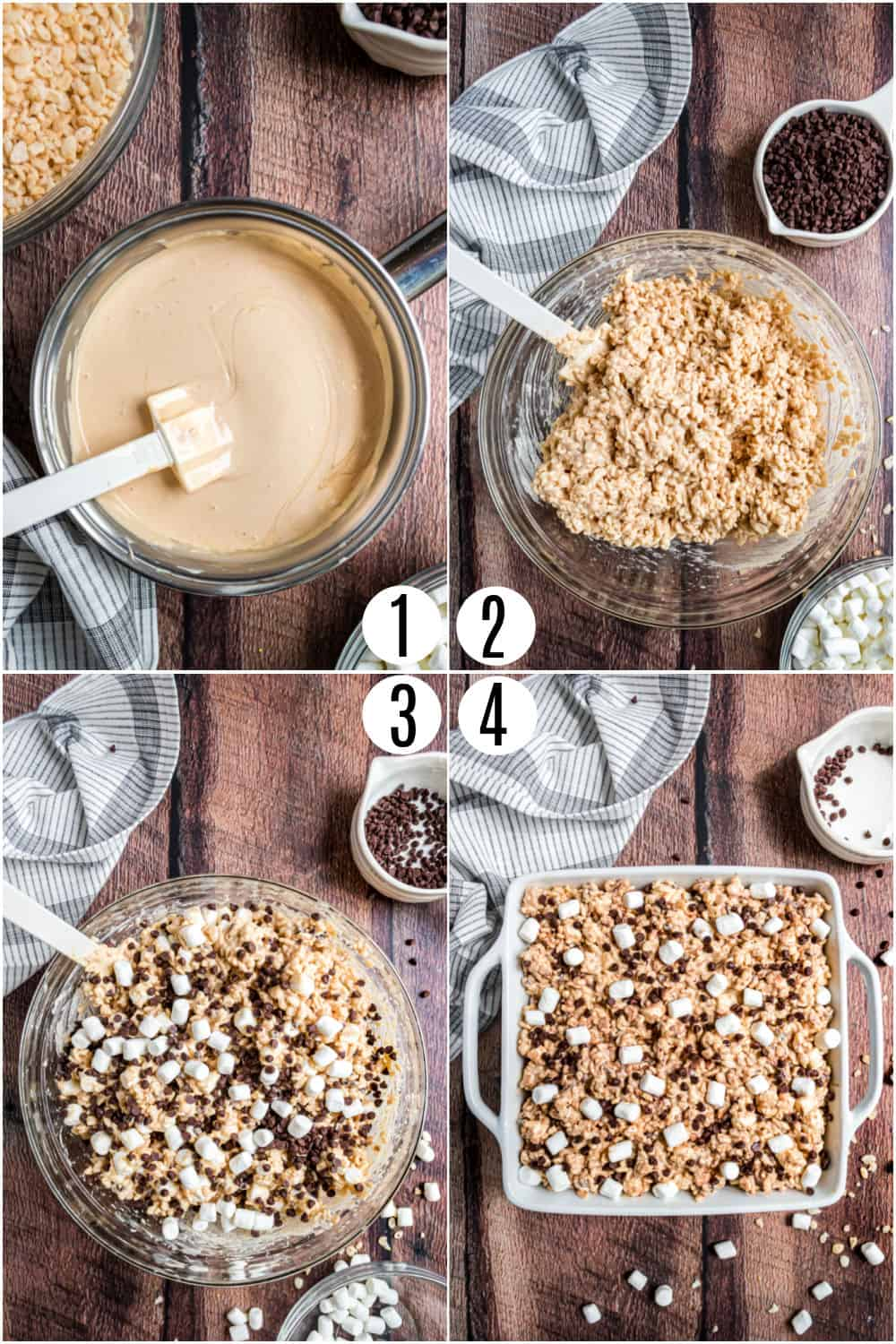 Step by step photos showing how to make avalanche bars.