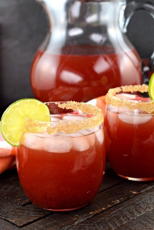 Whip up a pitcher of these Cherry Margaritas for your next summer party! Perfect for a crowd, and packed with flavor!