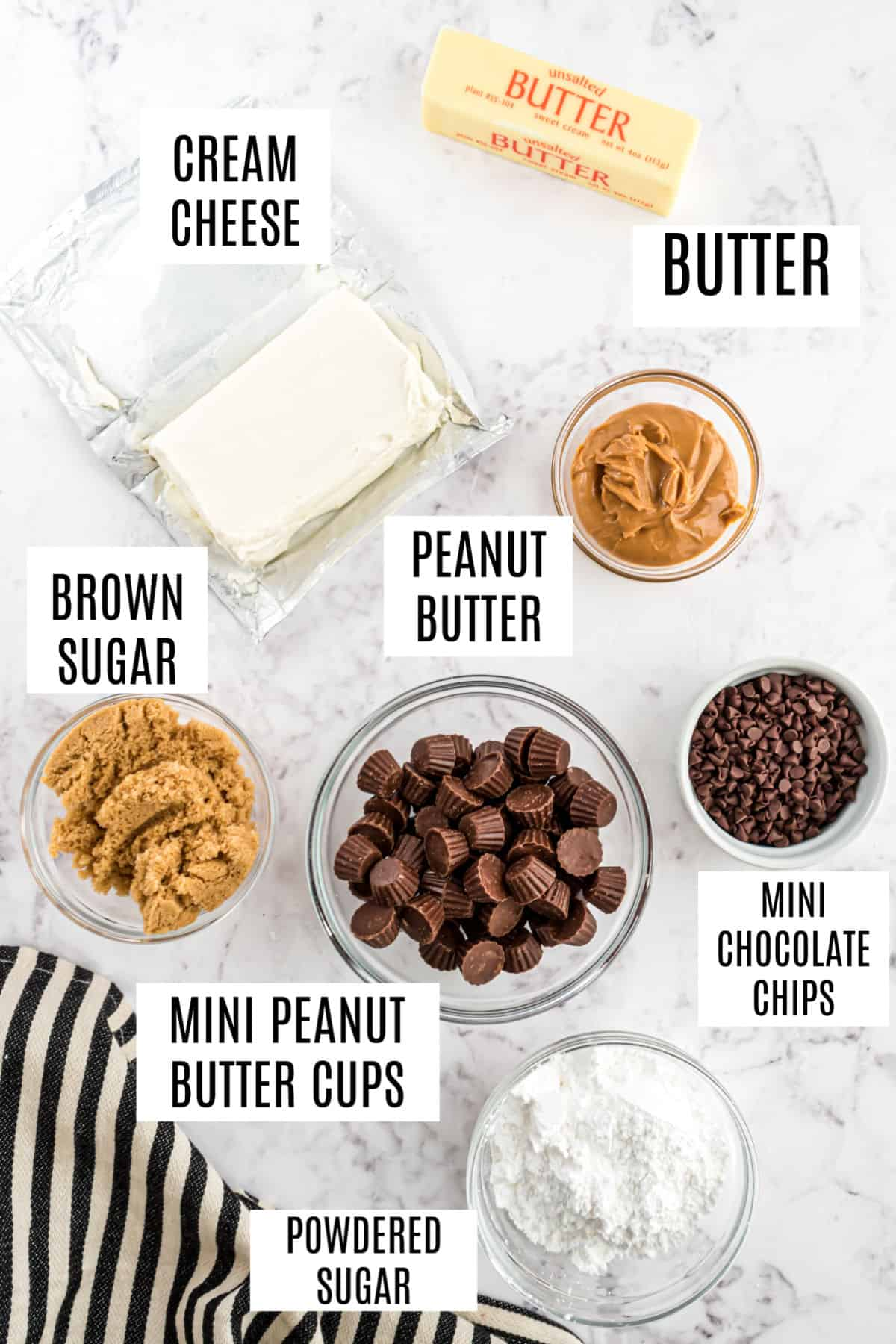 Ingredients needed to make Reese's peanut butter cookie dough dip.