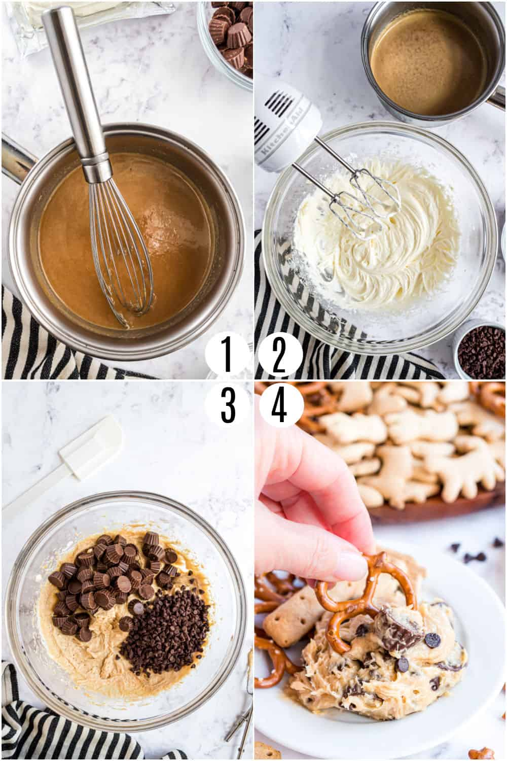 Step by step ingredients to make peanut butter cookie dough dip.