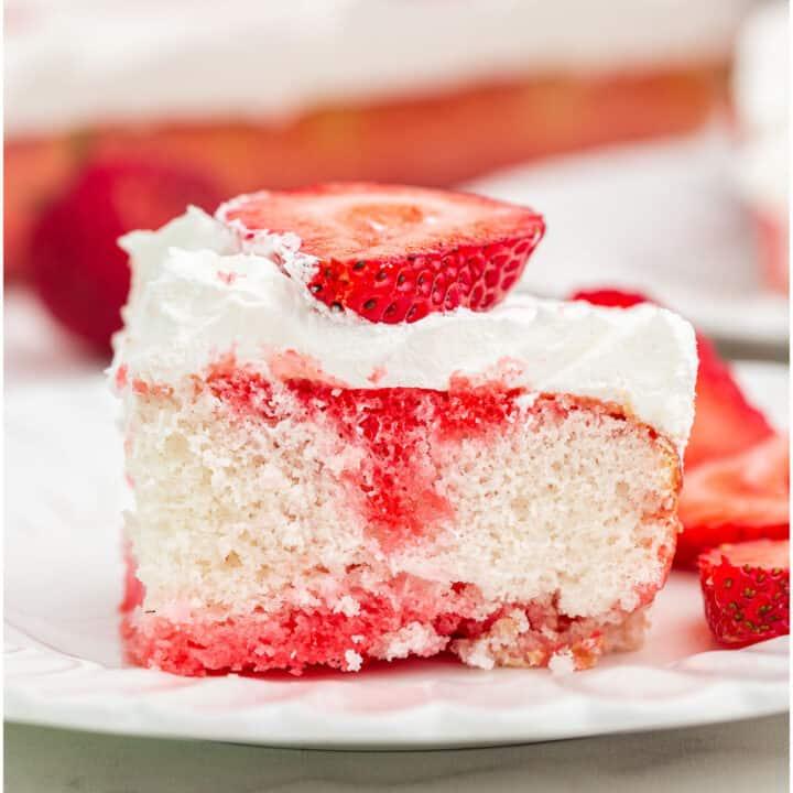 Strawberry JELL-O Poke Cake