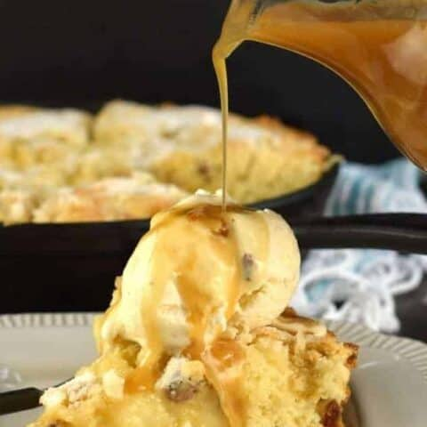 Butter Pecan Apple Skillet Cake with Bourbon Caramel Sauce