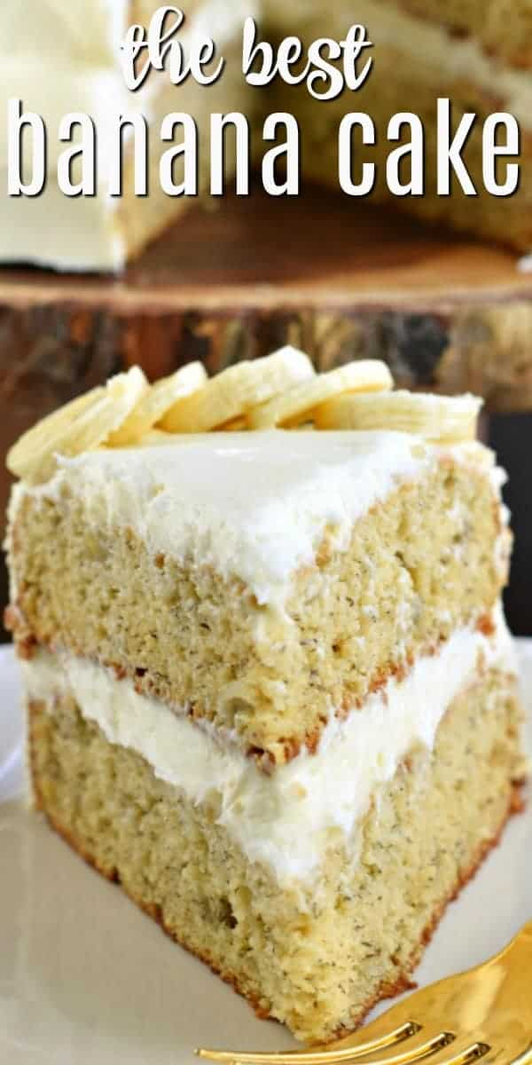 This Banana Cake with Cream Cheese Frosting is everything you want it to be, and more! Two moist layers of 'from scratch' Banana Cake, topped with a sweet Cream Cheese frosting!
