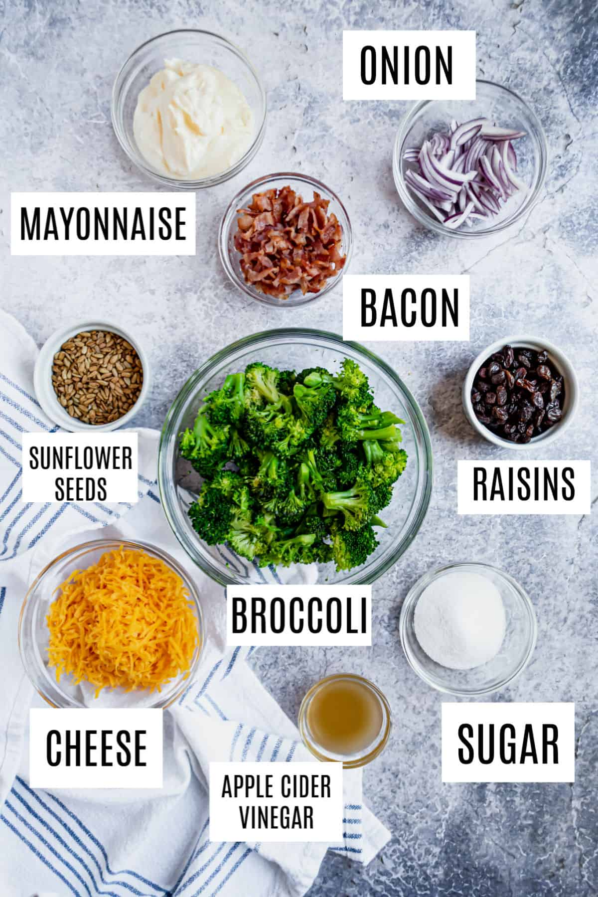 Ingredients needed to make broccoli salad.