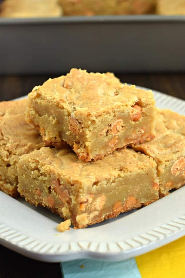 Butterscotch Blondies cut into large squares on a white plate.