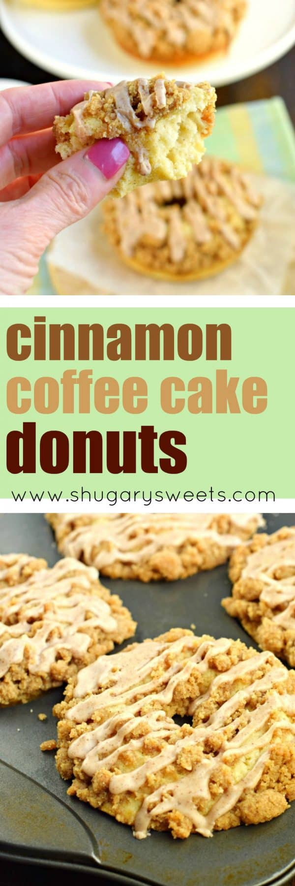 Tender, moist CinnamonCoffee Cake Donuts with a chunky cinnamon streusel and sweet cinnamon glaze. Baked, not fried, and perfect for a delicious Saturday morning breakfast!