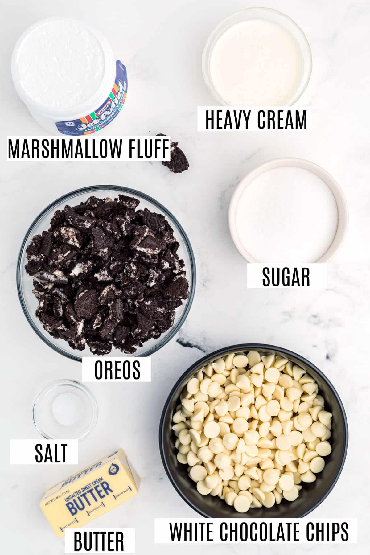 Ingredients needed for cookies and cream fudge.