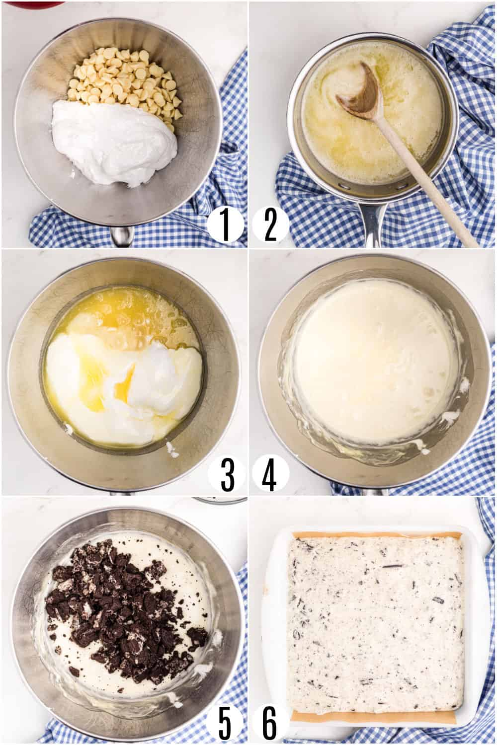 Step by step photos showing how to make oreo fudge.