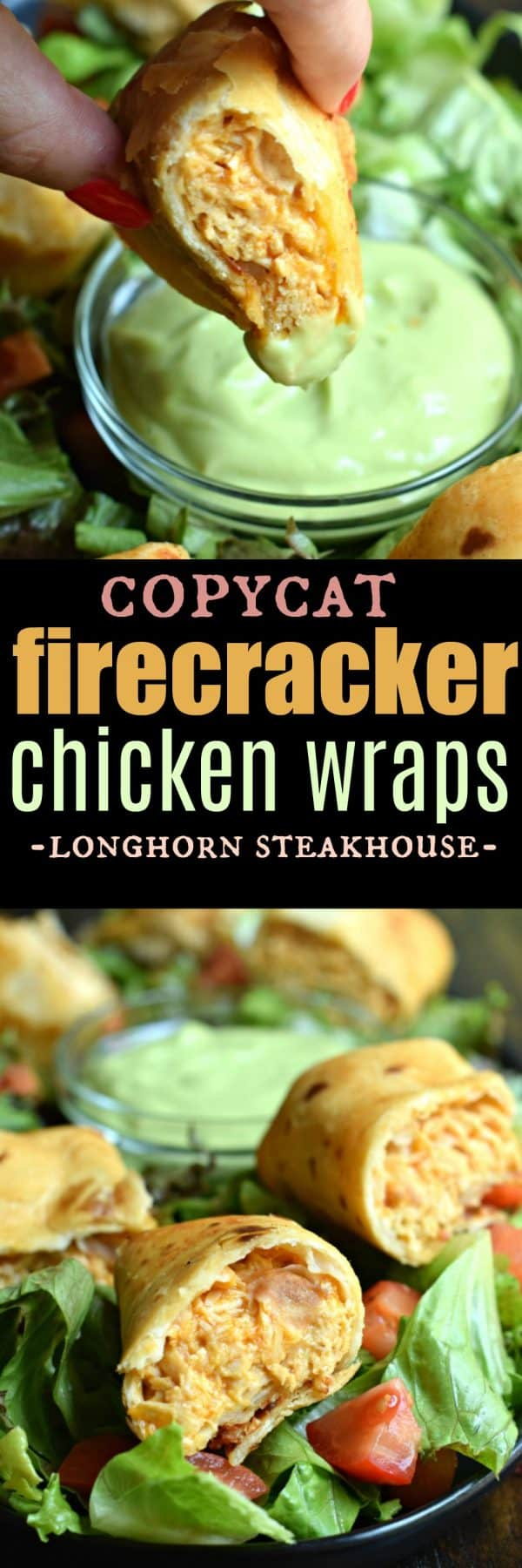Firecracker Chicken Wraps with Avocado Lime dipping sauce recipe #chicken #appetizers #gameday #copycatrecipe