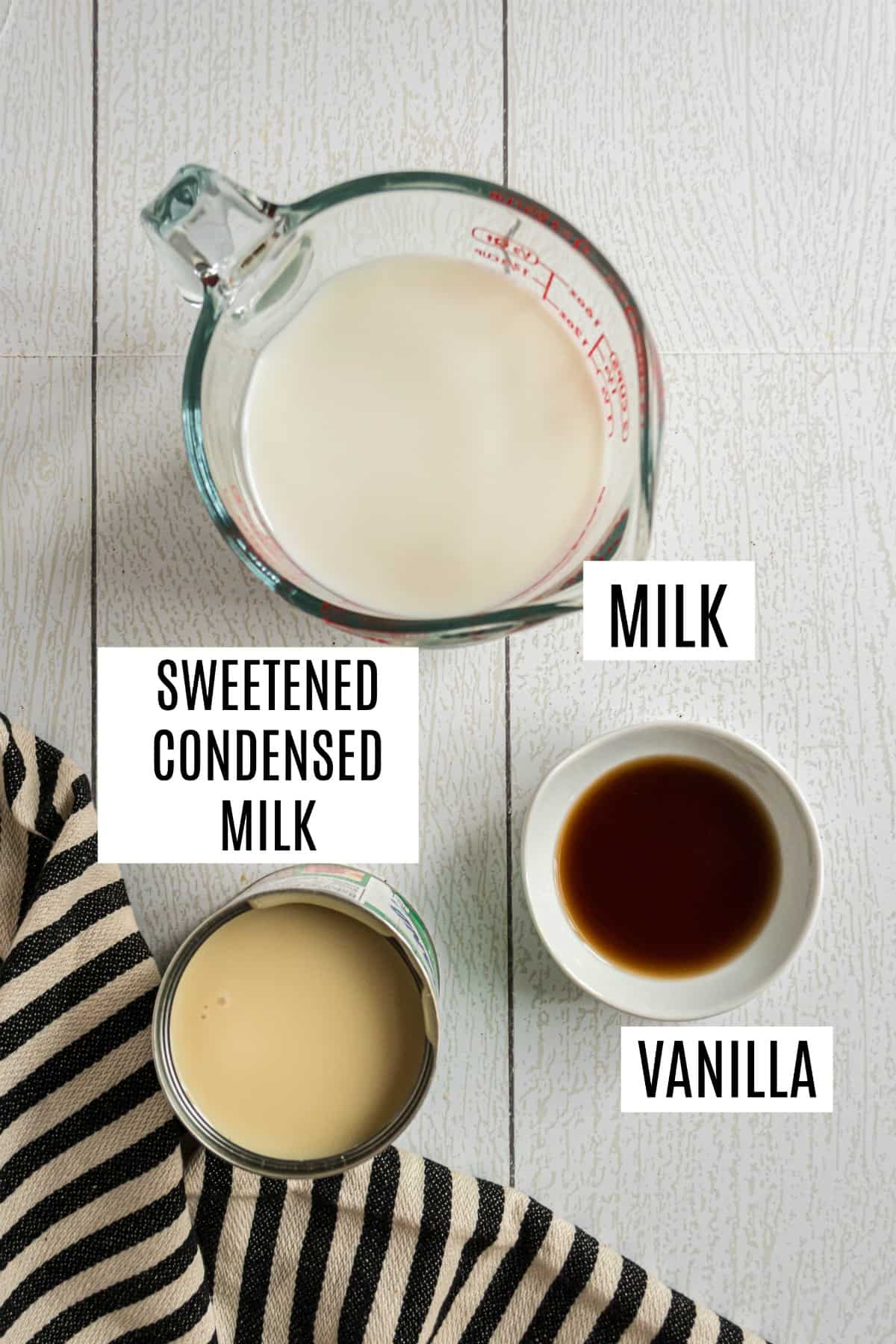 Three ingredients for french vanilla coffee creamer.