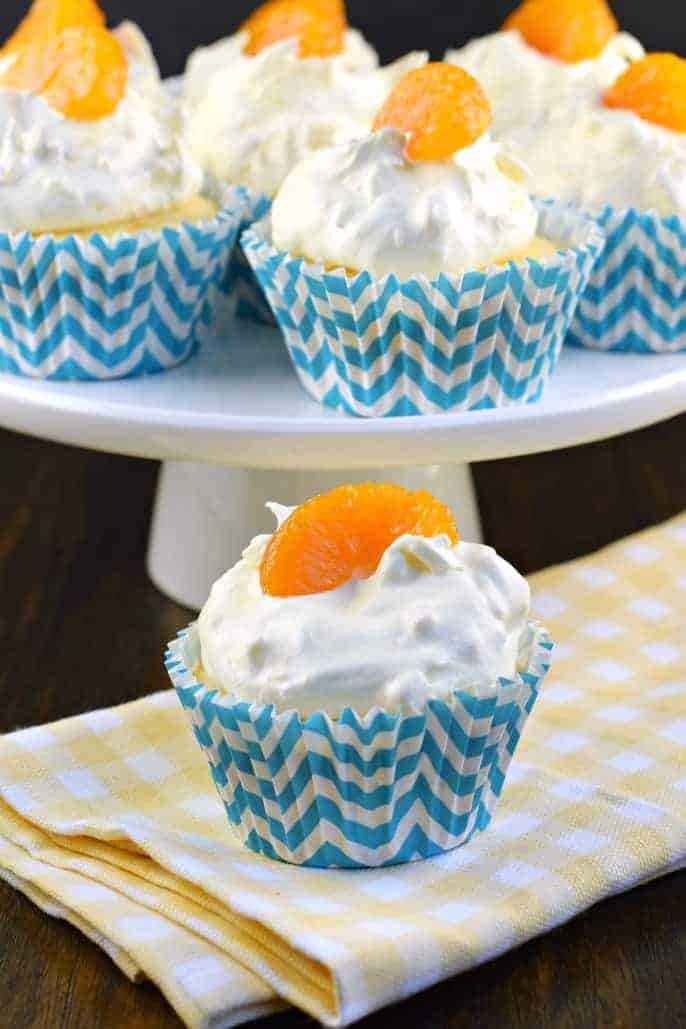 These Pineapple Orange Cupcakes are an easy, light dessert idea that are nearly guilt free!