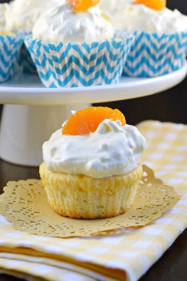 Orange Pineapple Cupcakes lightened up for only 75 calories per cupcake! A healthy treat!