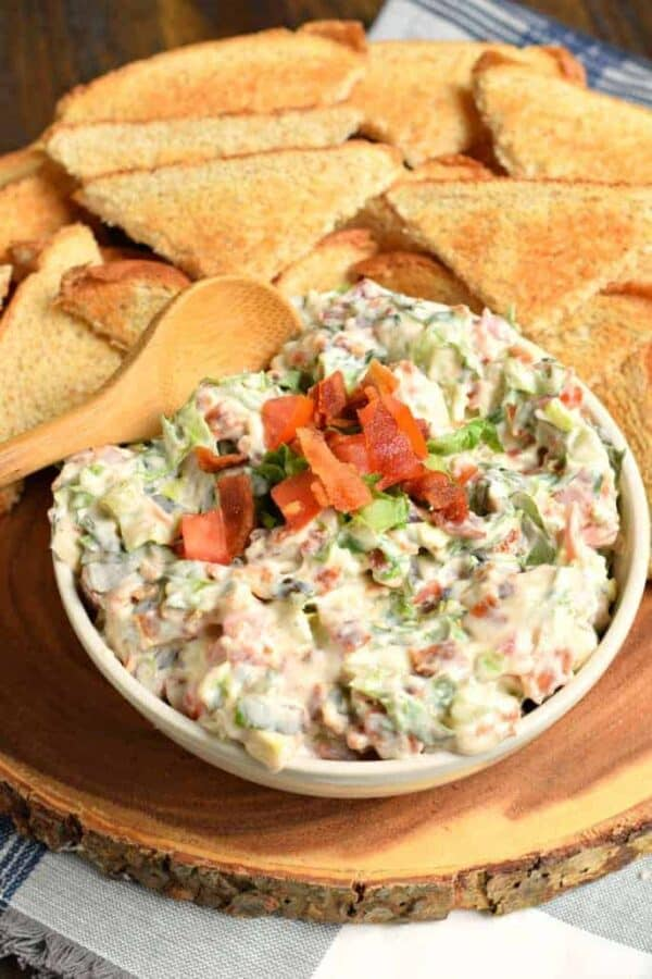 If you love Bacon, Lettuce, and Tomato sandwiches, you'll devour this BLT Dip in no time! Creamy and crunchy and perfect for game day!