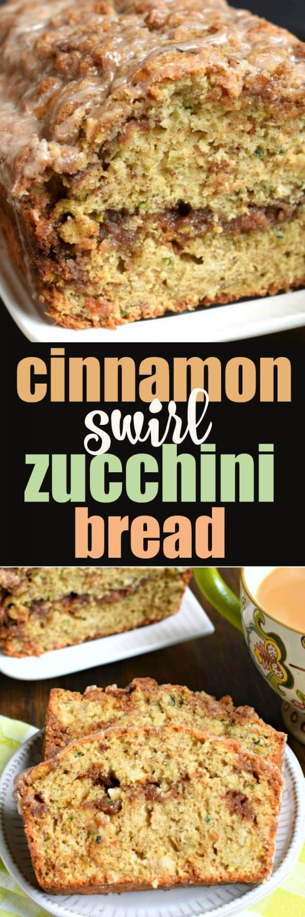 Cinnamon Swirl Zucchini Bread that tastes like coffee cake. Topped with cinnamon glaze!