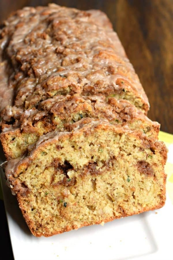 Two loaves of Zucchini Bread with Cinnamon Streusel and glaze!