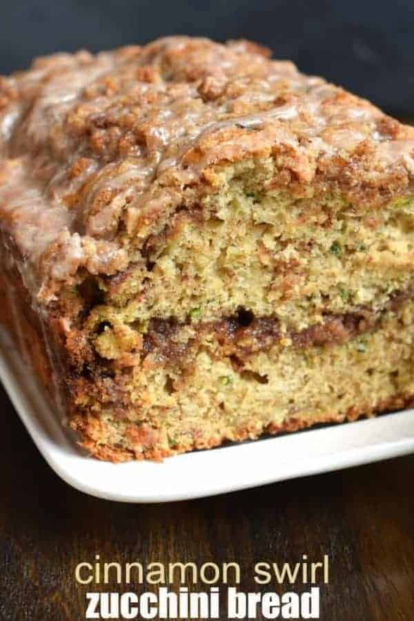 Delicious Cinnamon Swirl Zucchini Bread recipe tastes like a coffee cake with a cinnamon glaze. Two freezable loaves!