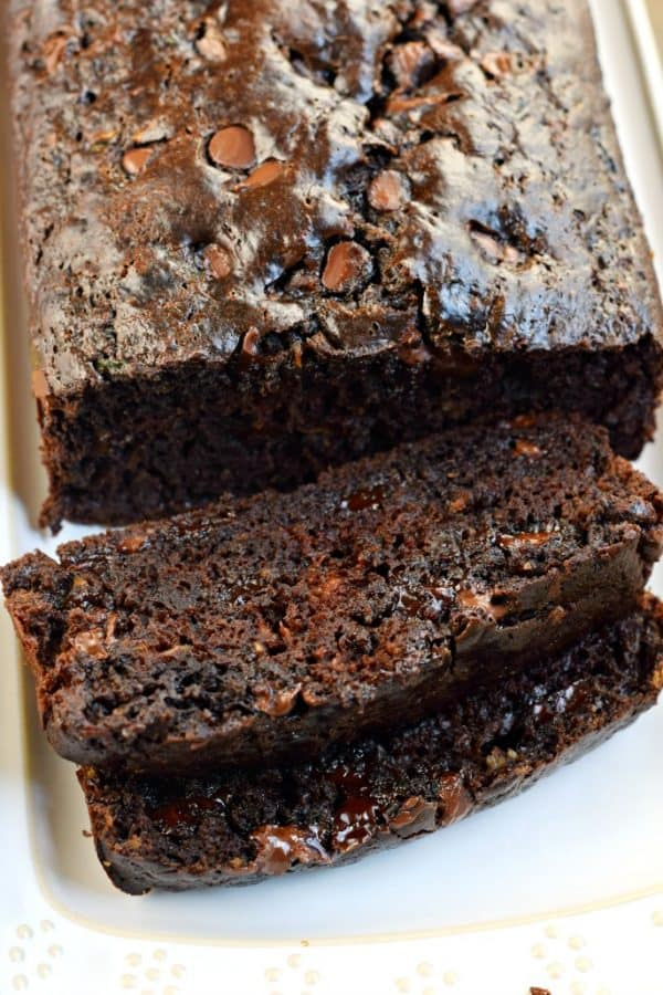 Two freezer friendly loaves of Double Chocolate Zucchini Bread