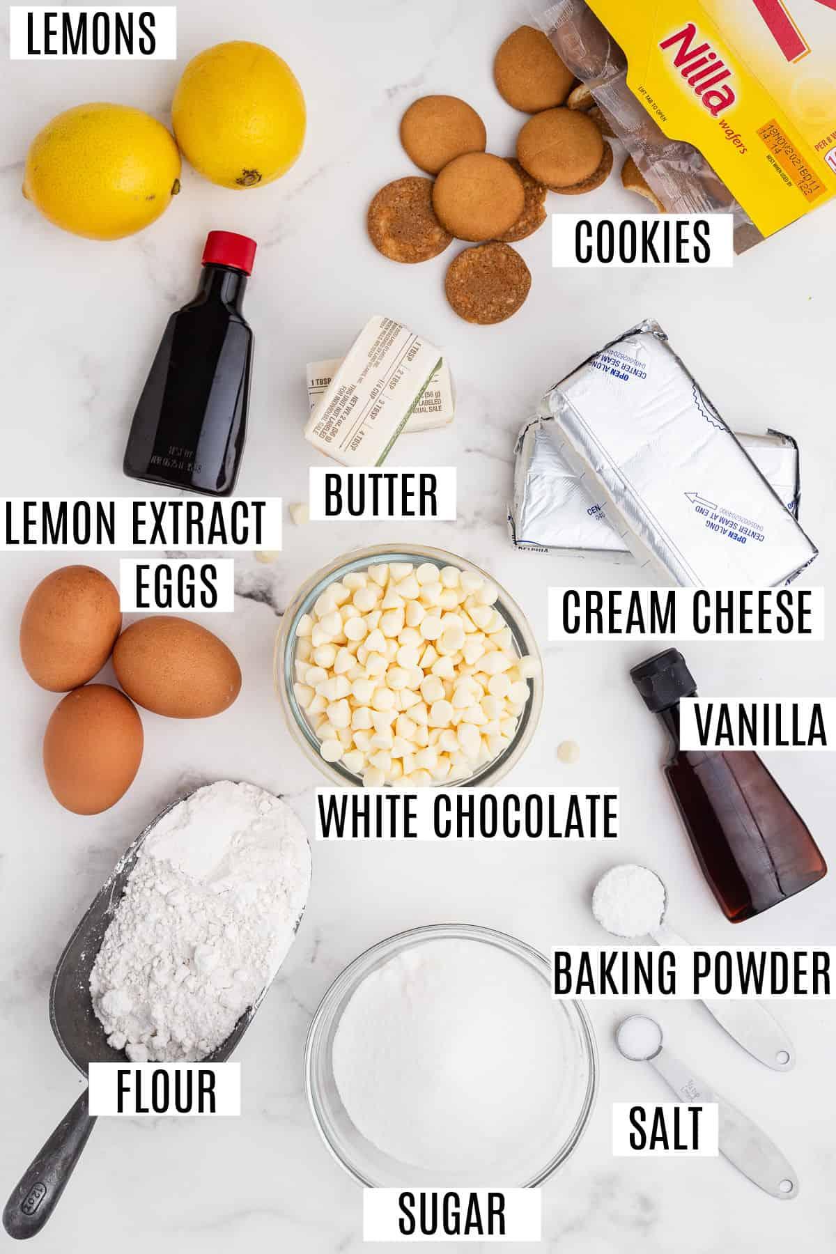 Ingredients needed for lemon cheesecake cookie bars.