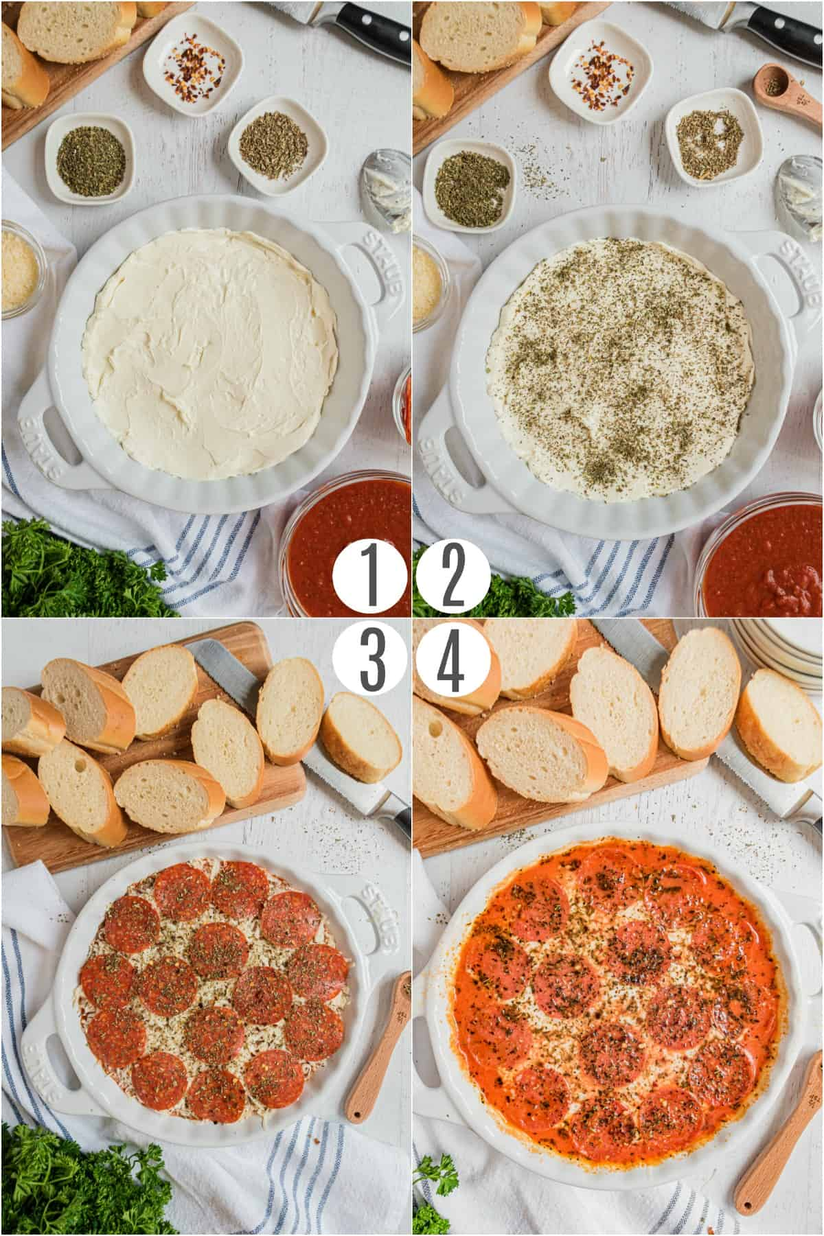 Step by step photos showing how to make pepperoni pizza dip in a pie plate.