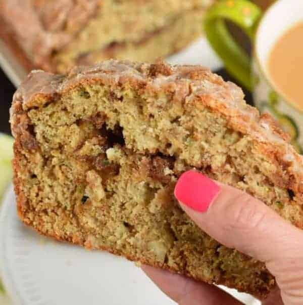 Slice of Cinnamon Swirl Zucchini Bread