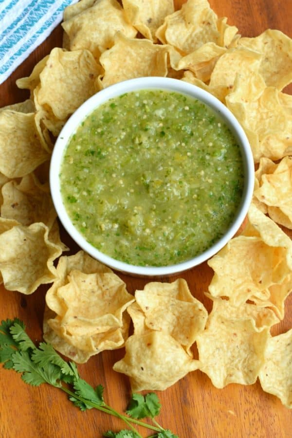 Try this Tomatillo Salsa recipe for an authentic, tangy Mexican salsa verde. Perfect for pairing with tacos, enchiladas or a big bowl of chips!