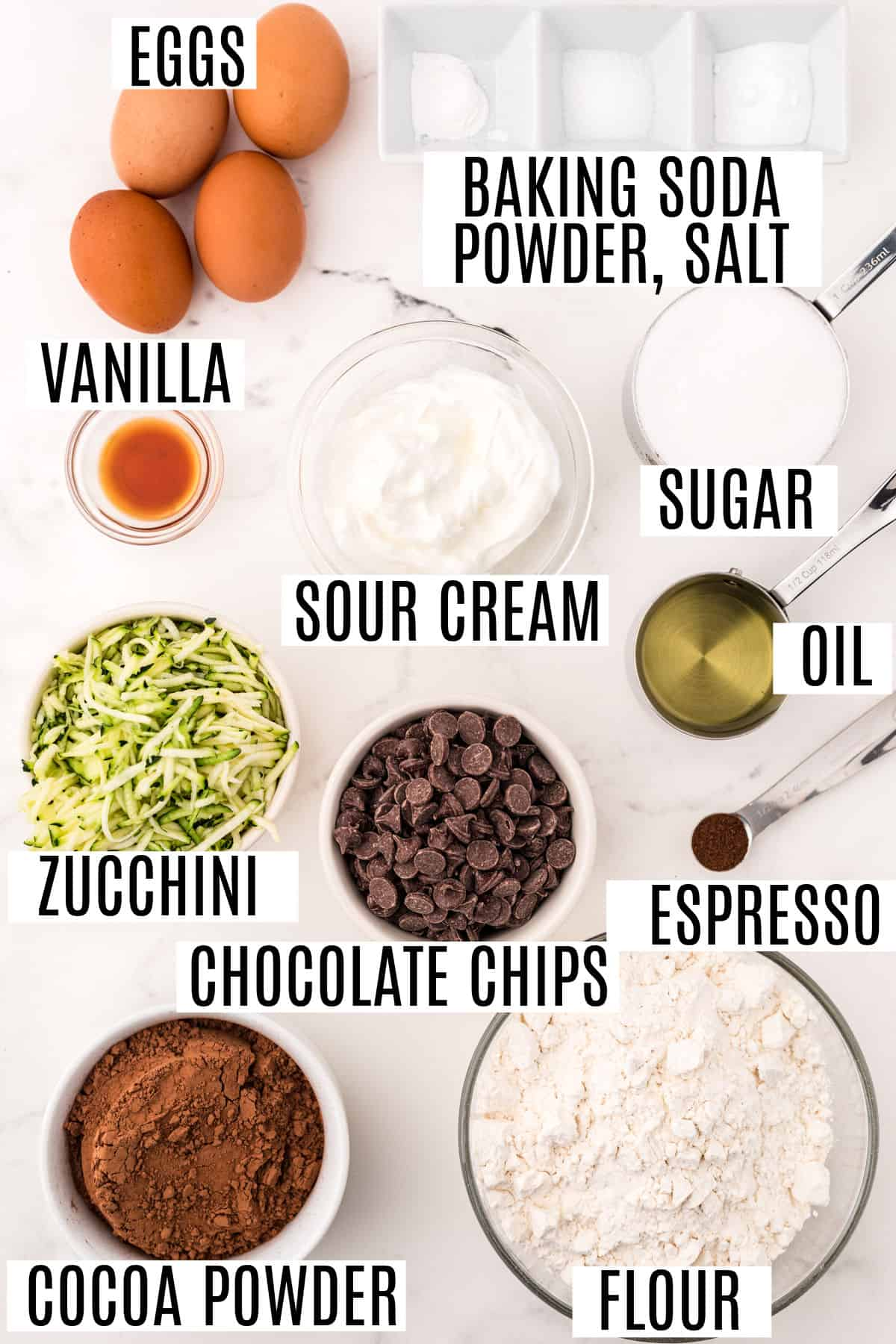 Ingredients needed for chocolate zucchini muffins.
