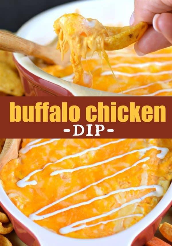 Easy Buffalo Chicken Dip recipe for #gameday #snacking #chicken #appetizer