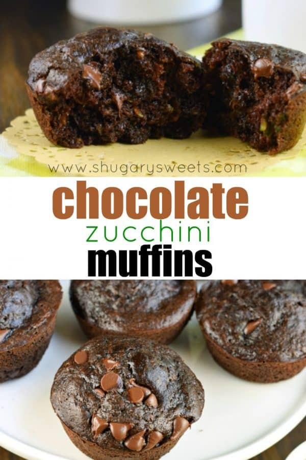 These rich and fudgy Double Chocolate Zucchini Muffins are easy to make, freezer friendly, and nobody will know you hid #zucchini inside! #chocolate