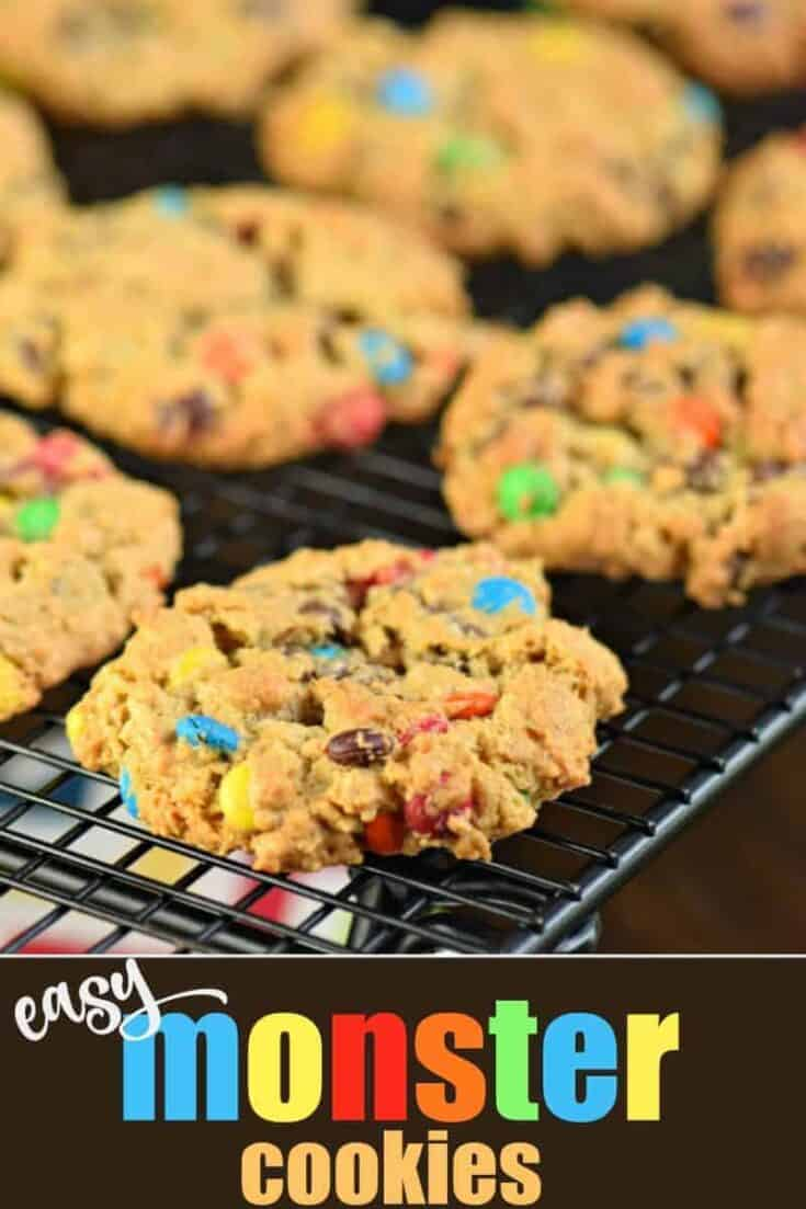 This Monster Cookie recipe is full of M&Ms, chocolate chips, peanut butter and oats for a cookie that is fun, chewy and delicious! Easy to make and perfect for sharing or freezing!