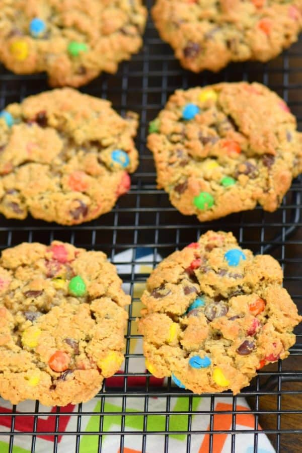Recipe for Monster Cookies: packed with peanut butter, oats, chocolate chips and candy!